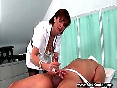 Domina makes her slave cum on himself