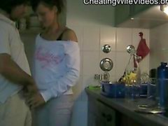 Horny Cheating Wife fucks lover in the kitchen and Swallow cum