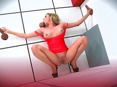 Gloryhole fuck with lady in red Samantha Saint