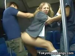 White Coed Creampied in Tokyo Metro!