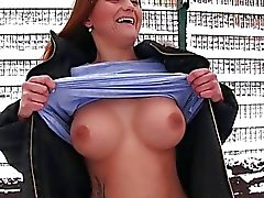 Nasty Czech babe flashes tits and banged