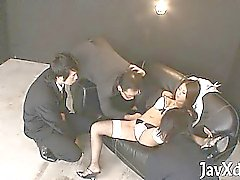 Asian babe plays with fat rod using her hands and throat