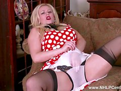 Curvy blonde Anna Joy strips off retro white lingerie and toys pussy in sheer nylons