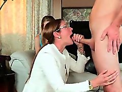Stepfamily Takes Turns Sucking Hung Plumber
