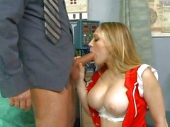 Reverse cowgirl for patient and Kagney Karter in red stockings at hospital