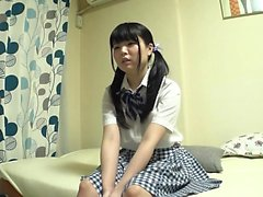 Shy asian teen strips out of her school uniform