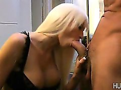 Sexy chick opening wide by massive dick