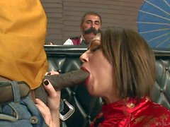 Sarah Shevon gives blowjob to black cowboy