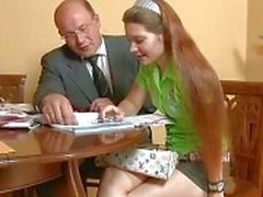Older teacher is subduing youthful babes beaver