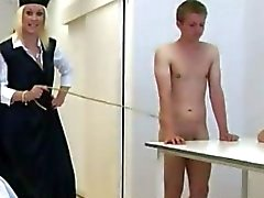 Watch naughty cfnm femdom bitches strip and humiliate young victim