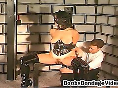 Kinky slut gets her hands tied up before she gets whipped