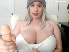 GIGANTIC BOOBS BBW TEEN CAM GIRL sucking a dildo pt2