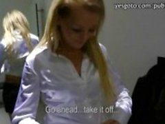 Blonde amateur Czech babe sucks and banged in the fitting room