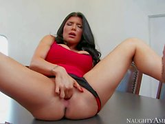 Leggy Romi Rain masturbating in front of psychologist