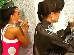 Lesbos get creamed at the gloryhole