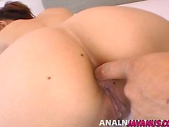 Yui with hairy cunt gets anal dildo