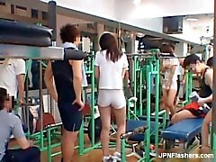 Sexy asian babe working out in tight shorts