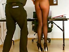 Secretary pantyhose exposed.