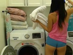 Hot asian babe is fucked with no mercy in the laundry room