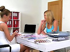 Female agent licks interior designer in office