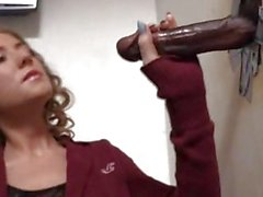 Alison Faye plays with a black dick at gloryhole