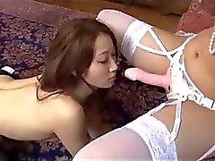 Asian Girl In Pantyhose Kissing Sucking Strapon Spanked In The Room