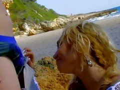 Blonde French babe assbanged on beach