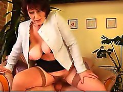 Virgin Boy Covered Stepmom's Hairy Pussy With