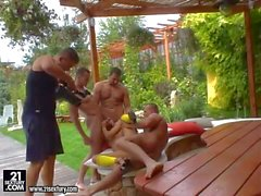 lusty bitch with blue eyes has rough outdoor gang bang