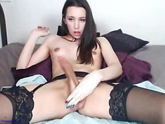 Stockings clad slut pisses and toys her pussy in fetish solo