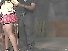 Black roped schoolgirl punished with cane