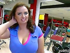 Busty woman pounded and receives jizzed on boobs at the gym