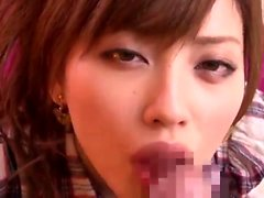 Cute asian dressed as nurse blows cock in POV close up