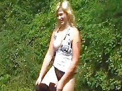 young chubby amateur with sexy hangers fucking outdoors