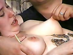 Intimate tit torture of amateur bbw slave girl Nim