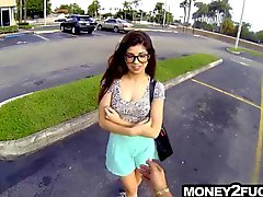 Teen with glasses offered money for her pussy