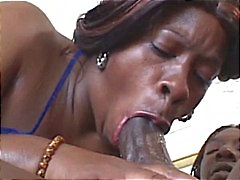 Bbbw sucks on his big cock before she gets hammered by it