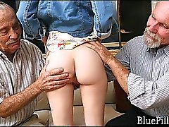 Petite redhead fondeled by pervy old men